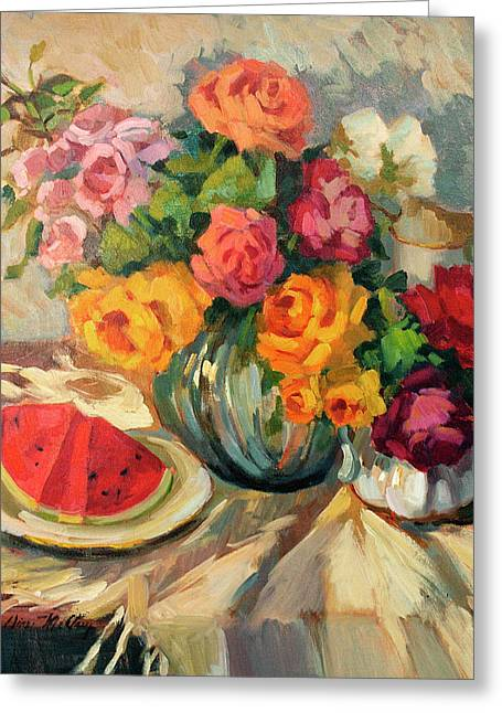 Apple Paintings Greeting Cards - Watermelon and Roses Greeting Card by Diane McClary