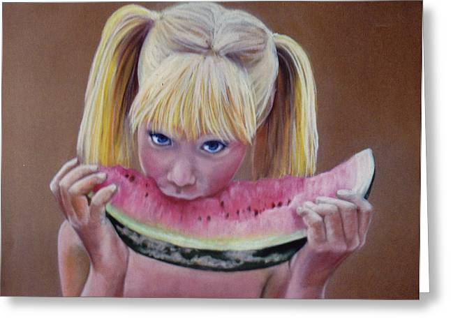 Watermelon Greeting Cards - Watermelon Bite Greeting Card by Colleen Gallo