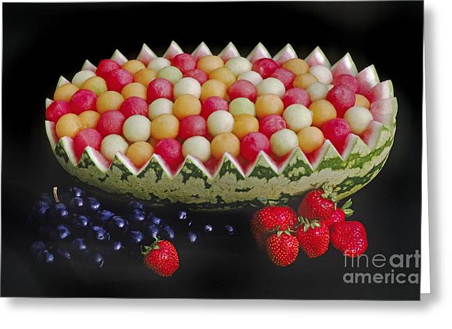 Watermelon Greeting Cards - Watermelon Bowl Greeting Card by Craig Lovell