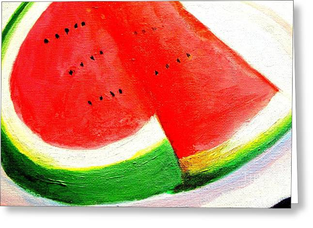 Watermelon Mixed Media Greeting Cards - Watermelon by Doreen Kirk Greeting Card by Doreen Kirk