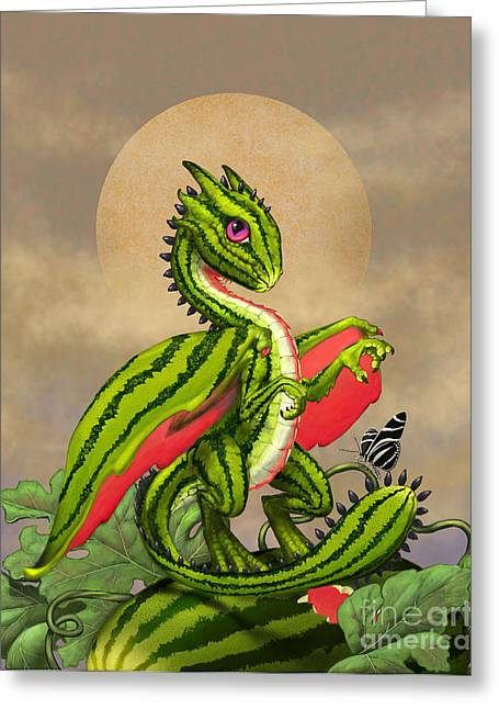 Recently Sold -  - Watermelon Greeting Cards - Watermelon Dragon Greeting Card by Stanley Morrison