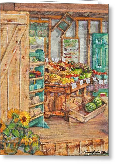 Watermelon Farm Stand Greeting Card by Sharon Jordan Bahosh