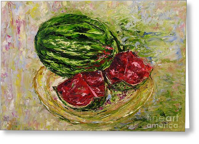 Still Life With Watermelon. Greeting Cards - Watermelon Greeting Card by Galina Khlupina