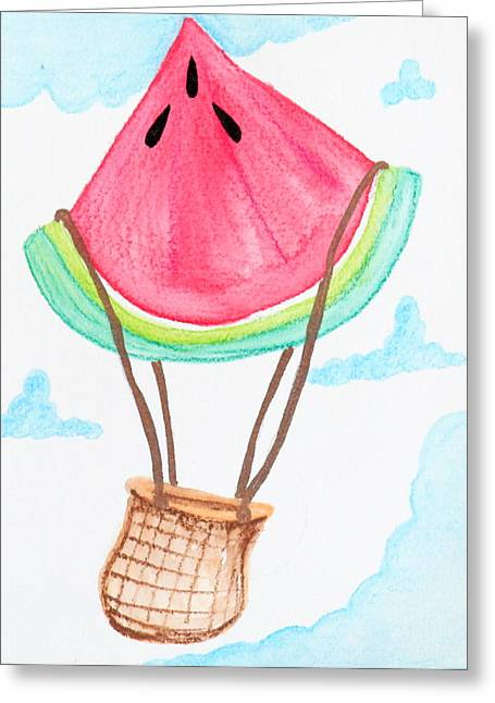 Watermelon Greeting Cards - Watermelon Hot Air Balloon Greeting Card by Mary Susan Cannon