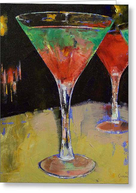 Watermelon Greeting Cards - Watermelon Martini Greeting Card by Michael Creese