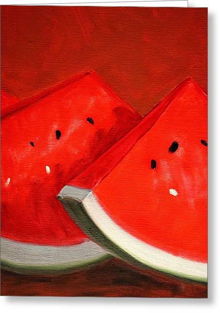 Watermelon Greeting Cards - Watermelon Greeting Card by Nancy Merkle