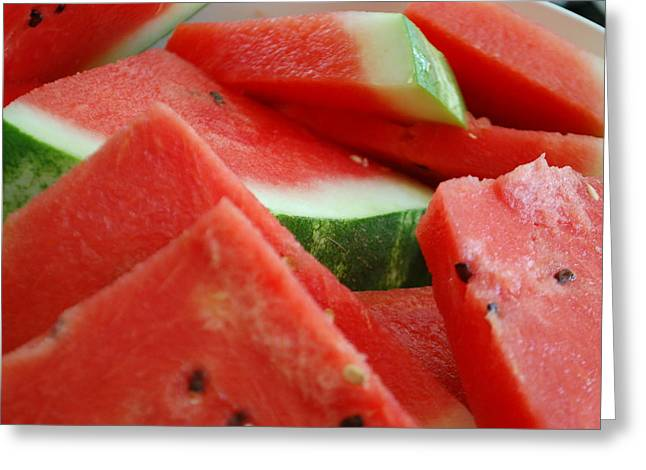 Watermelon Greeting Cards - Watermelon Photography Greeting Card by Rachel Thompson