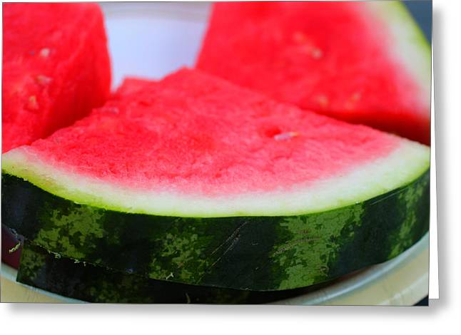 Watermelon Greeting Cards - Watermelon Slices Greeting Card by Jennifer Churchman