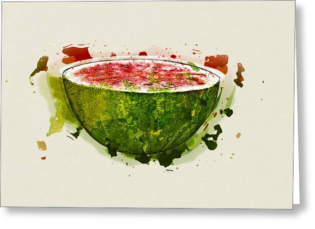 Watermelon Mixed Media Greeting Cards - Watermelon Greeting Card by Stockr