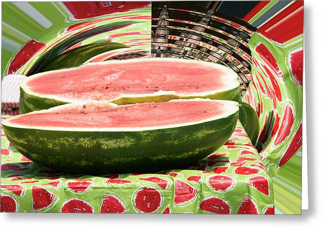 Best Sellers -  - Striae Greeting Cards - Watermelon Time Greeting Card by Danny Jones