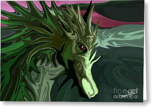 Watermelon Greeting Cards - Watermelon Tourmaline Dragon Greeting Card by Sherin  Hylan