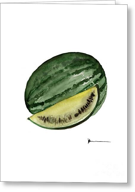 Watermelon Mixed Media Greeting Cards - Watermelon watercolor art print painting Greeting Card by Joanna Szmerdt