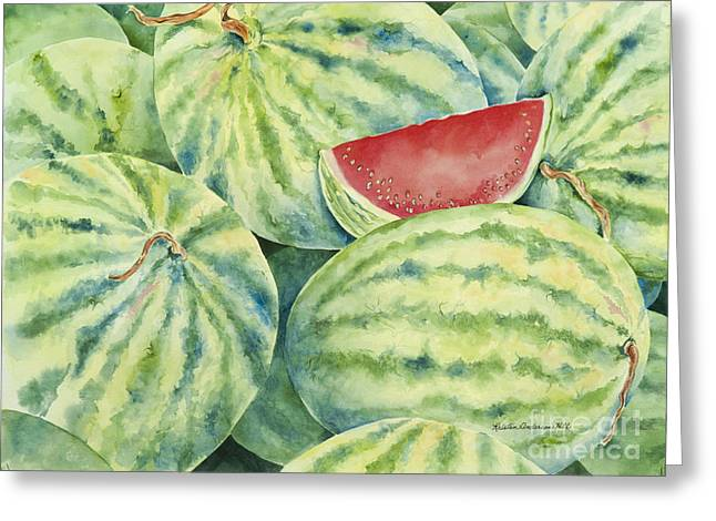 Watermelon Greeting Cards - Watermelons Greeting Card by Kristen Anderson Hill