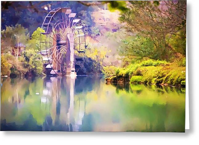 Old Mill Scenes Paintings Greeting Cards - Watermill in Yunnan 1 Greeting Card by Lanjee Chee