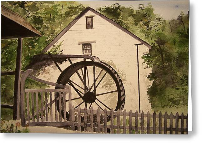 Feed Mill Paintings Greeting Cards - Watermill Polperre Greeting Card by Peter Kundra