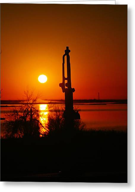 Old Relics Photographs Greeting Cards - Waterpump In The Sunrise Greeting Card by Jeff  Swan