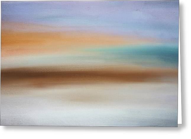 Abstract Seascape Art Greeting Cards - Waters Edge Greeting Card by Lourry Legarde