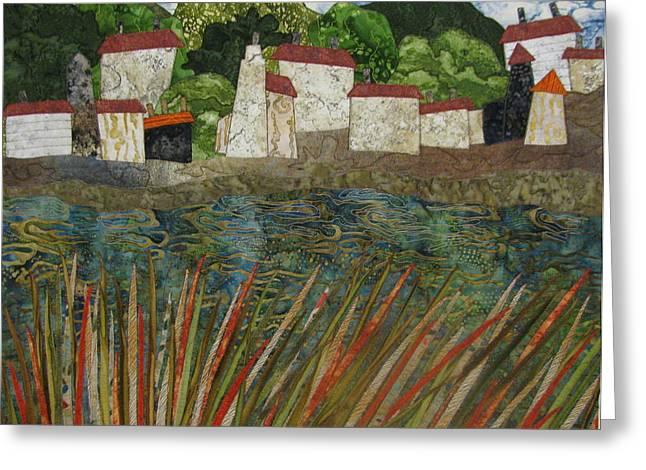 Seaside Tapestries - Textiles Greeting Cards - Waters Edge Greeting Card by Lynda K Boardman
