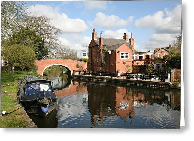 Mark Severn Greeting Cards - Waterside Pub Greeting Card by Mark Severn