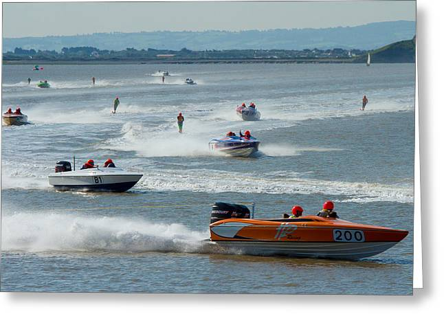 Ski Racing Greeting Cards - Waterski racing with boats and skiers Greeting Card by Michael Charles