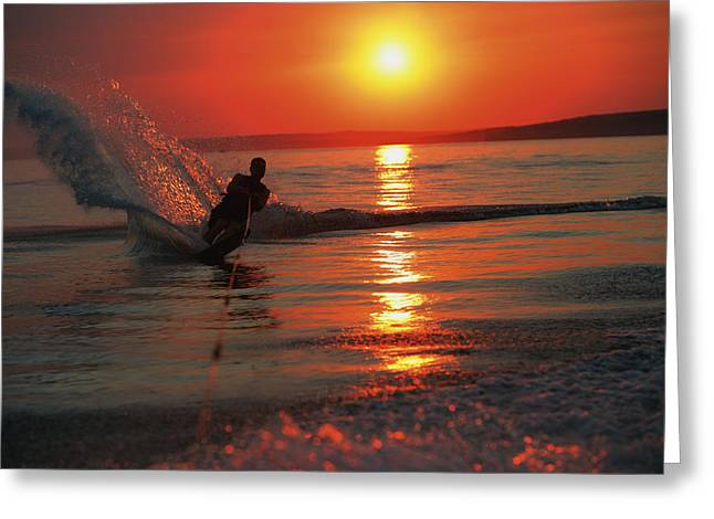 Vacation Lakes Greeting Cards - Waterskiing At Sunset Greeting Card by Misty Bedwell