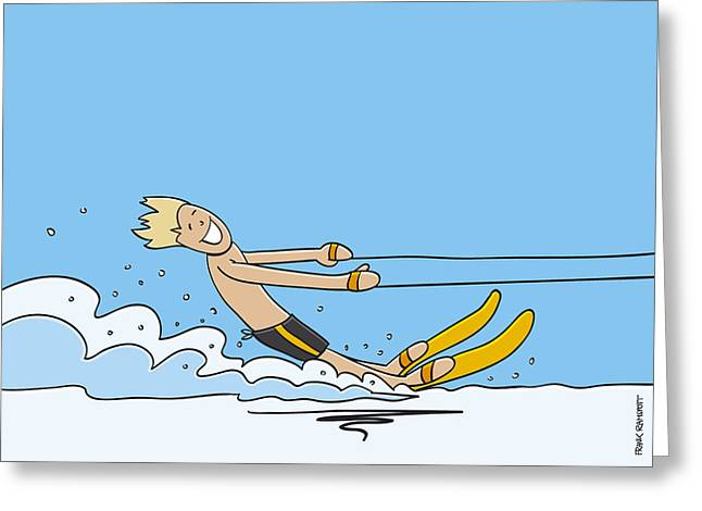 Waterskiing Happy Man Greeting Card by Frank Ramspott