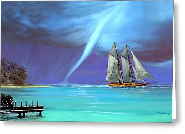 Schooner Mixed Media Greeting Cards - Waterspout and the Schooner Greeting Card by Duane McCullough