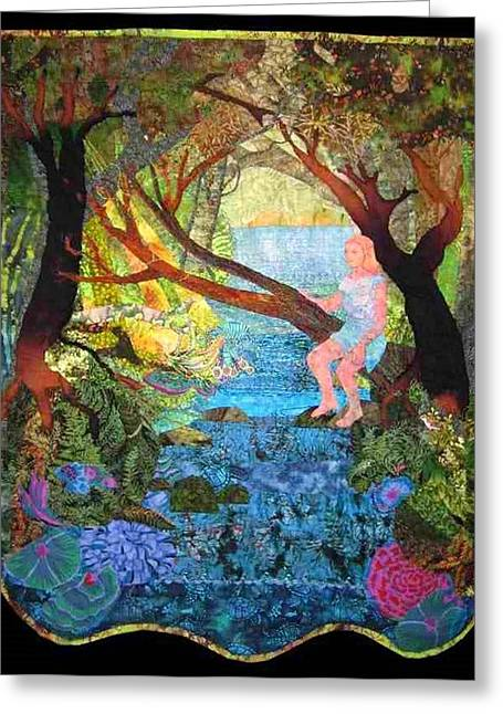 Stream Tapestries - Textiles Greeting Cards - Watersprite Greeting Card by Carol Bridges