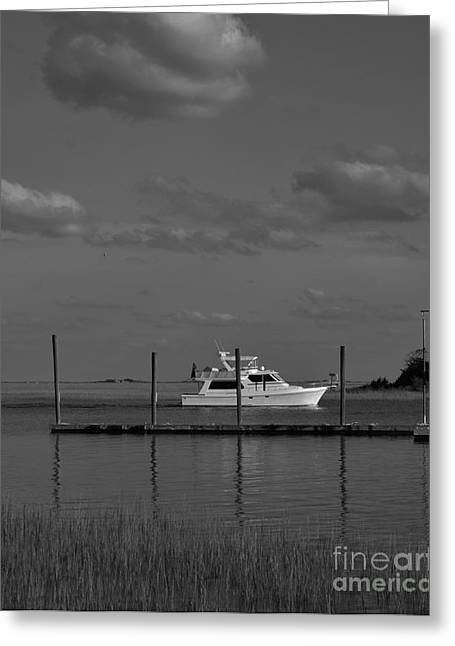 Sailboat Art Greeting Cards - Waterway In Black And White Greeting Card by Bob Sample