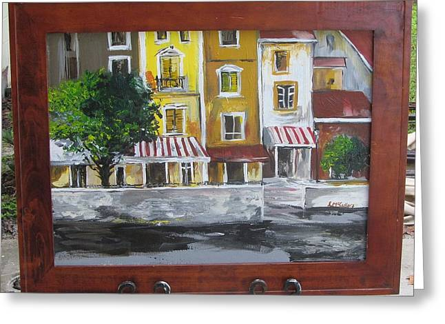 Italian Shopping Paintings Greeting Cards - Waterway shops Greeting Card by Lana McCullars