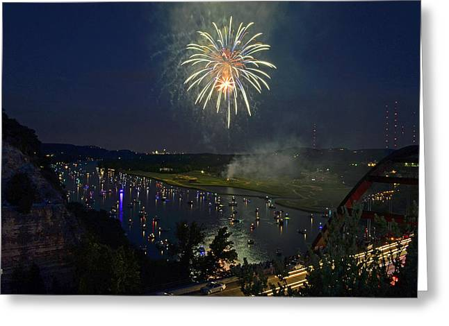 Rockets Red Glare Greeting Cards - Waterworks Greeting Card by Scotty Burch
