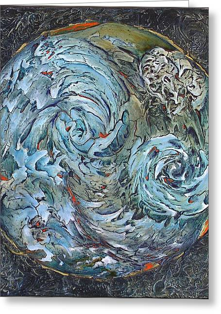 Water Reliefs Greeting Cards - WaterWorld Greeting Card by Linda Carmel