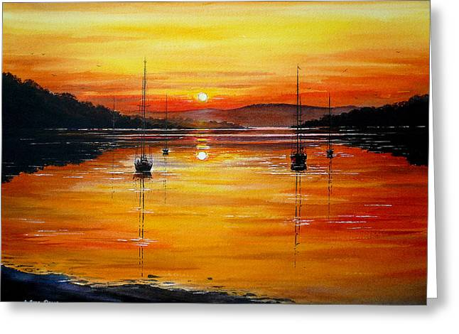 Sillouette Greeting Cards - Watery Sunset at Bala lake Greeting Card by Andrew Read
