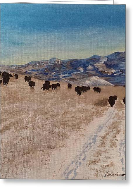 Grazing Snow Paintings Greeting Cards - Watford City III Greeting Card by J Travis Duncan
