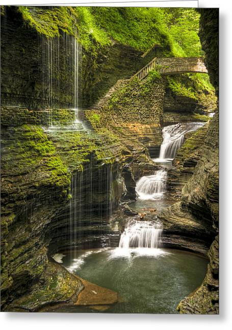 Seneca Greeting Cards - Watkins Glen Falls Greeting Card by Anthony Sacco