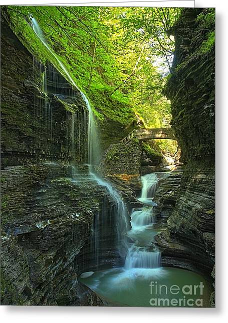 Watkins Glen New York Greeting Cards - Watkins Glen Falls Into The Pool Greeting Card by Adam Jewell
