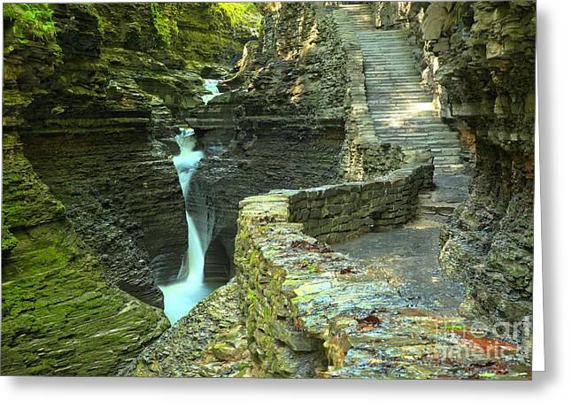 Finger Lakes Greeting Cards - Watkins Glen Gorge Trail Greeting Card by Adam Jewell