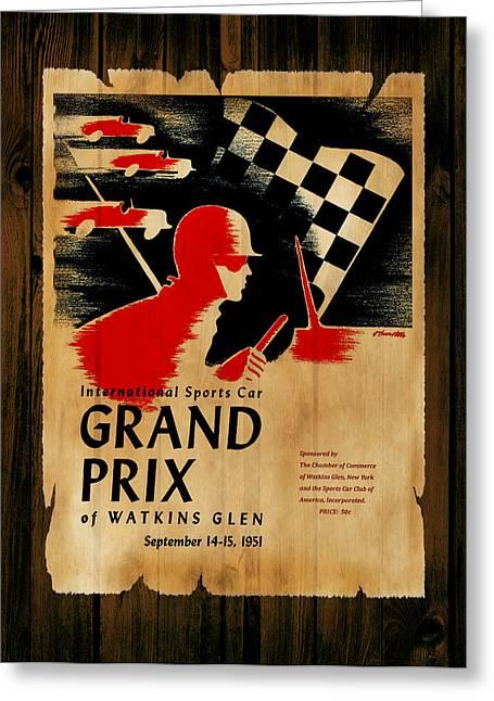 Watkins Glen Greeting Cards - Watkins Glen Grand Prix 1951 Greeting Card by Mark Rogan