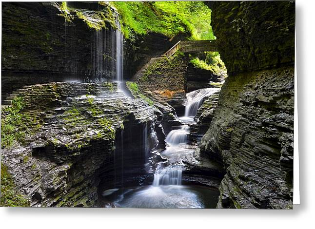 Recently Sold -  - Geology Photographs Greeting Cards - Watkins Glen New York Greeting Card by Frozen in Time Fine Art Photography