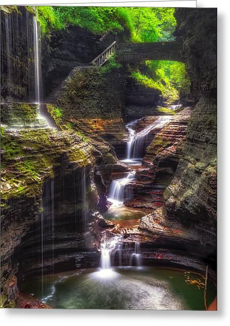 Watkins Glen Rainbow Falls Greeting Card by Mark Papke