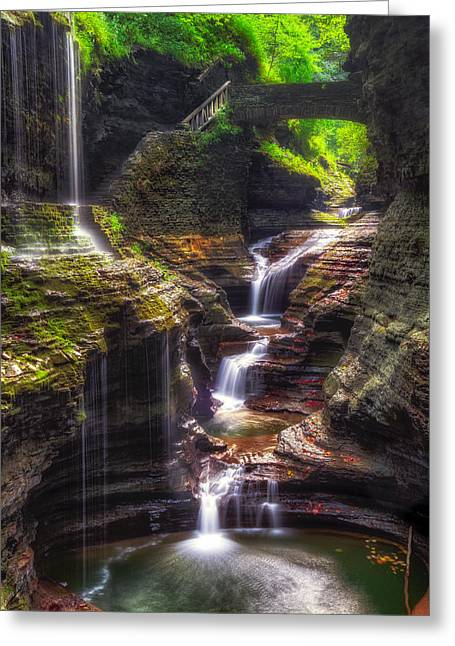 Seneca Greeting Cards - Watkins Glen Rainbow Falls Greeting Card by Mark Papke