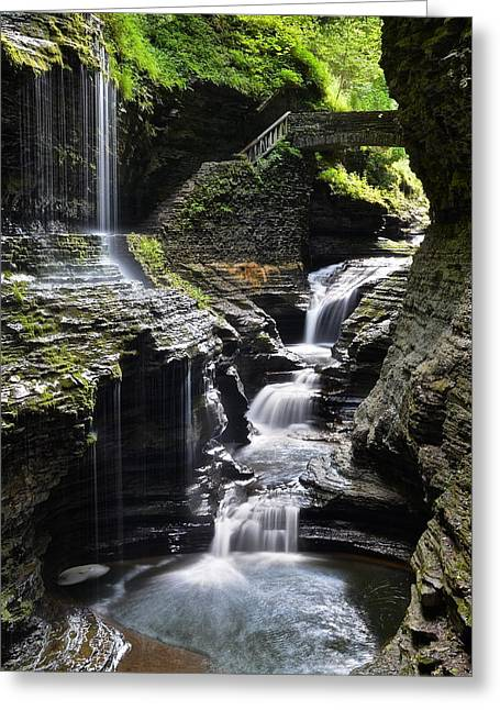 Streaming Light Greeting Cards - Watkins Glen Rainbow Falls Greeting Card by Frozen in Time Fine Art Photography