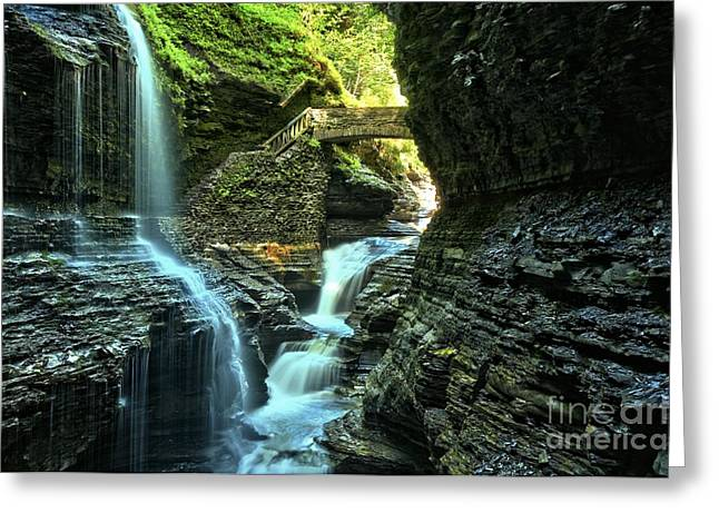 Finger Lakes Greeting Cards - Watkins Glen Waterfalls Greeting Card by Adam Jewell