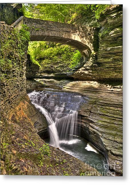 Watkins Glen Greeting Cards - Watkins Glen Waterfalls Greeting Card by Anthony Sacco