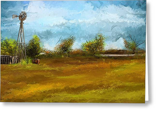 Watson Greeting Cards - Watson Farm In Rhode Island - Old Windmill And Farming Art Greeting Card by Lourry Legarde