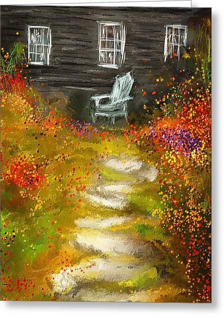 Watson Greeting Cards - Watson Farm - Old Farmhouse Painting Greeting Card by Lourry Legarde