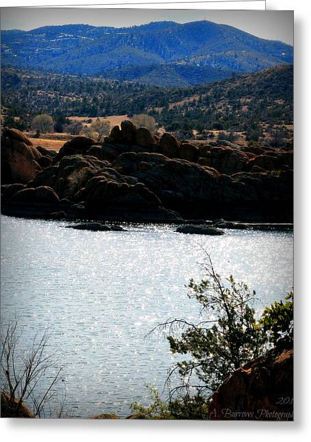 Watson Lake Greeting Cards - Watson Lake and the Bradshaws Greeting Card by Aaron Burrows