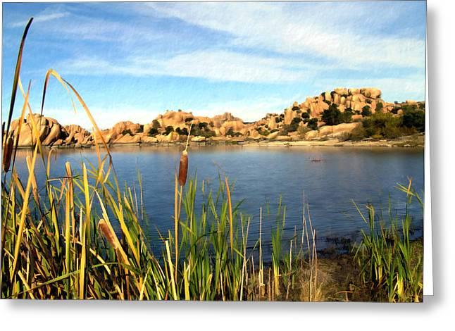 Watson Lake Arizona Greeting Card by Kurt Van Wagner