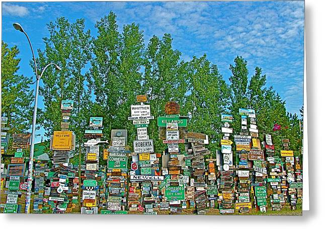 Watson Lake Greeting Cards - Watson Lake Sign Forest-YT Greeting Card by Ruth Hager