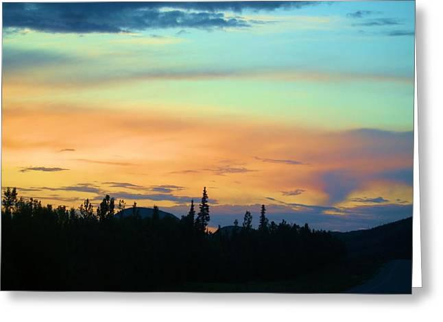 Watson Lake Greeting Cards - Watson Lake Sunset Greeting Card by Diane Holden